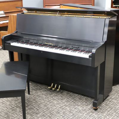 used charles walters satin ebony 45 inch studio upright for sale